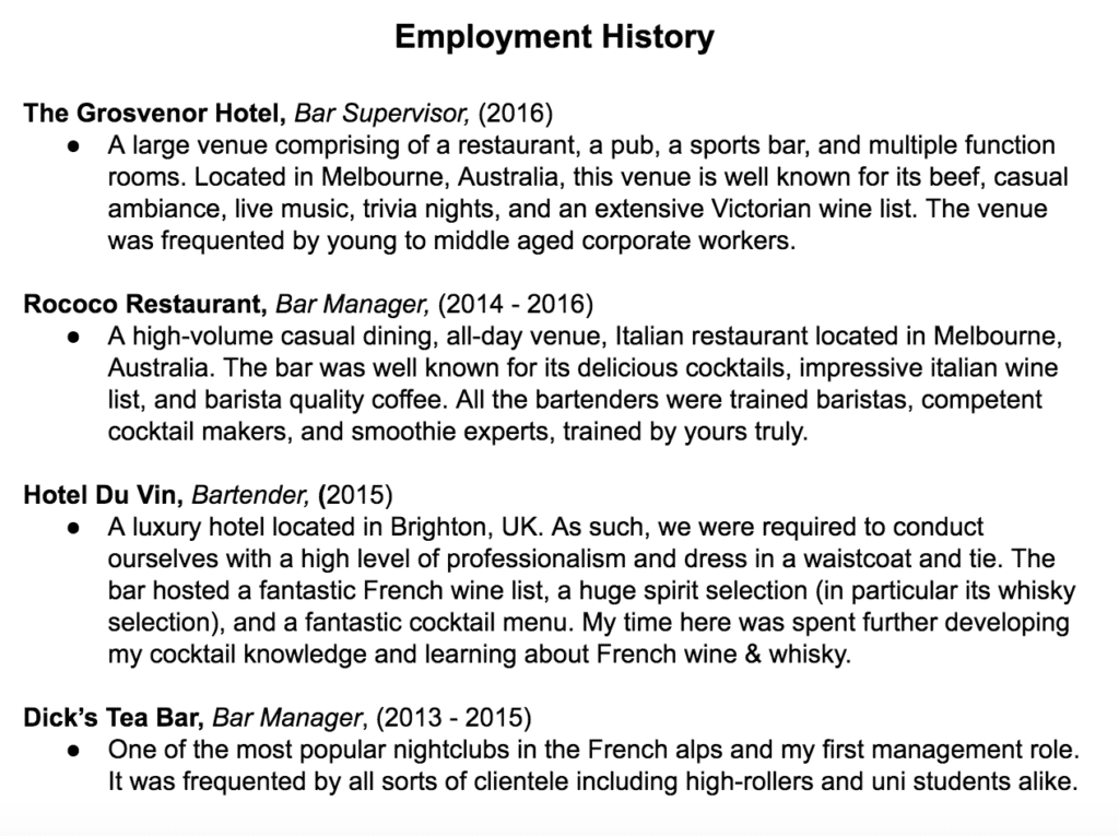 How to Write an Irresistible Bartender Resume Crafty Bartending