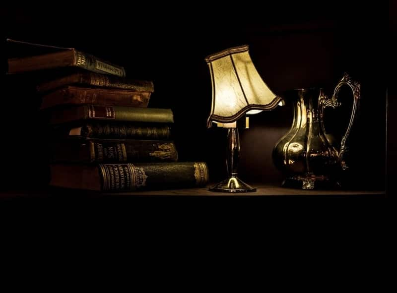 Books by a lamp